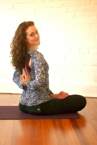 Reverse Prayer Hands in Half Lotus