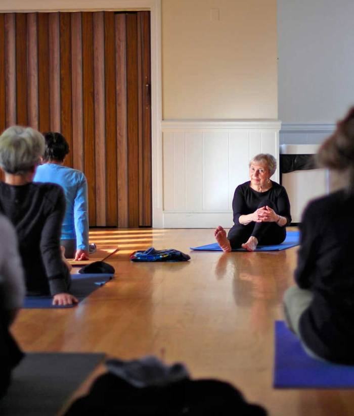 Lilo Foster teaching yoga